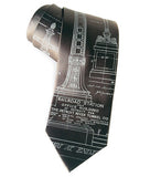 Detroit Train Station Blueprint necktie