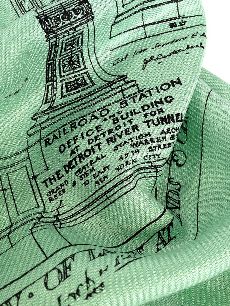 Blueprint scarf ironwork detail detroit train station mint green michigan central station scarf malvernweather Image collections