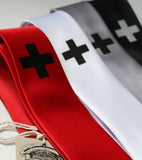 Medic Necktie. Black on red, white, silver. silver on black.
