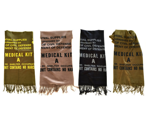 Civil Defense Medical Kit Scarf. Linen-weave Pashmina
