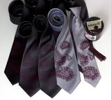 Custom wedding set - aubergine ink on charcoal, silver.