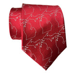 Crimson red silk Michigan Map Outline Necktie