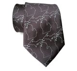 Cyberoptix Charcoal grey Michigan Map Outline Silk Necktie