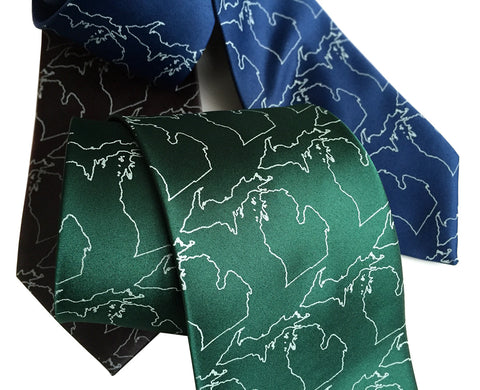 State of Michigan Necktie. Map Outline Tie