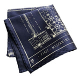 Capitol Theatre Blueprint Pocket Square, Navy Blue. Detroit Opera House
