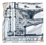 Capitol Theatre Blueprint Pocket Square, Cream. Detroit Opera House