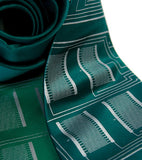 Microchip Circuit Board Necktie. Silver on kelly; emerald