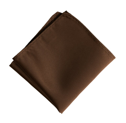 Milk Chocolate Brown Pocket Square. Solid Color Satin Finish, No Print