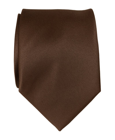 Milk Chocolate Brown Necktie. Plain Solid Color Satin Finish Tie, No Print