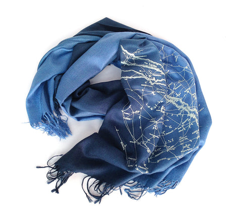 Milky Way Galaxy, star chart pashmina scarf.
