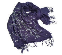 Milky Way star chart scarf. Linen-weave pashmina.