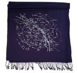 night sky print scarf, navy blue. As seen on The Grommet