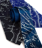 Milky Way Star Chart Necktie. Ice blue ink on french blue, navy, royal blue silk.