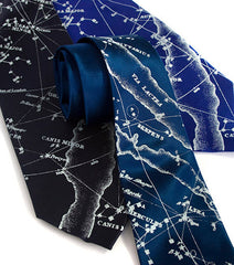 Milky Way Galaxy silk necktie. Star chart tie