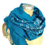 Milky Way Scarf. Ice blue on teal blue.