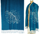 Milky Way Star Chart Scarf. Ice blue on teal blue.