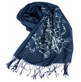 Navy Blue Milky Way Galaxy star chart scarf.