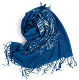 Cobalt Blue Milky Way Galaxy star chart scarf.