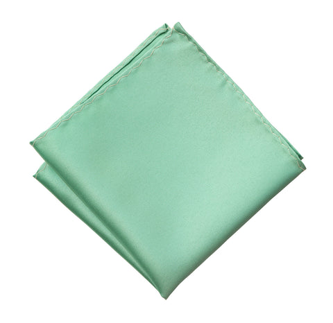 Mint Green Pocket Square. Solid Color Satin Finish, No Print