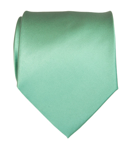 Mint Green Necktie. Solid Color Satin Finish Tie, No Print