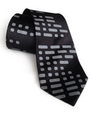 Morse Code tie: Dove ink on black.