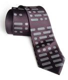Morse Code necktie: Dove print on charcoal.