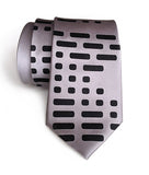 Morse Code men's necktie: black on silver.