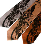 Velolcette Motorcycle Neckties. Black ink on silver, pale copper, cinnamon.
