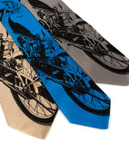 Motorcyle ties. Black on champagne, electric blue, silver.