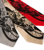 Motorcycle lover ties. Black on silver, champagne, red.