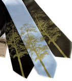 Aspen Necktie: Moss green print on black, sky blue, olive.