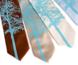 Aspen Necktie: Sky on cinnamon, champagne, cream, sky blue