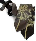 Aspen Necktie: Moss green print on black, olive.