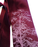 Custom Aspen necktie: Radiant orchid on spiced wine.