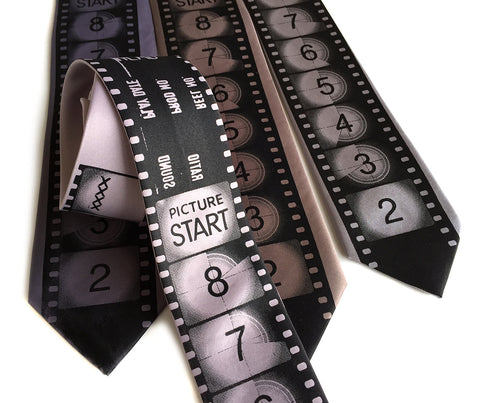 Movie Film necktie. Academy Film Leader tie