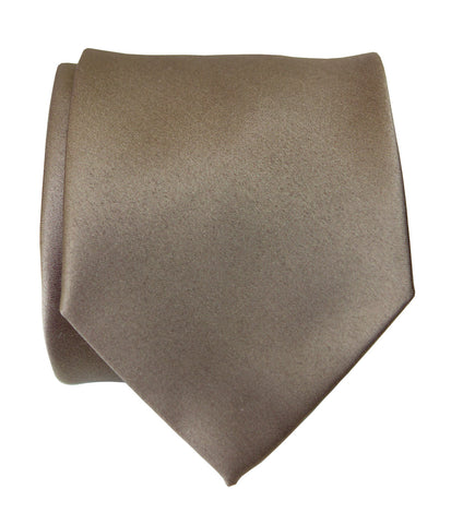 Mushroom Grey Necktie. Tan Solid Color Satin Finish Tie, No Print
