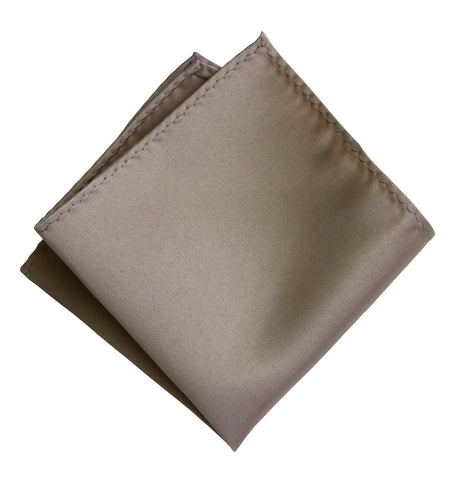 Mushroom Grey Pocket Square. Tan Solid Color Satin Finish, No Print