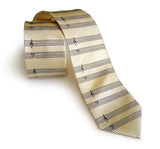 cream sheet music herringbone silk necktie