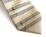 cream music staff paper herringbone silk necktie