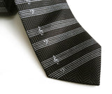 black sheet music herringbone silk necktie