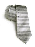 silver sheet music herringbone silk tie