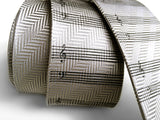 silver sheet music herringbone silk necktie