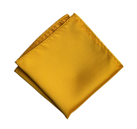 Mustard Yellow Pocket Square. Solid Color Satin Finish, No Print
