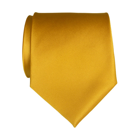 Mustard Yellow Necktie. Solid Color Satin Finish Tie, No Print