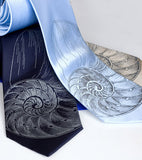 Nautilus Shell Neckties. Dove gray on navy, sky, champagne.