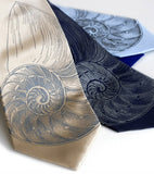Nautilus Shell Ties. Dove gray on champagne, navy, sky.