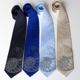 Nautilus Shell Neckties. Dove gray on navy, sky, royal, champagne.