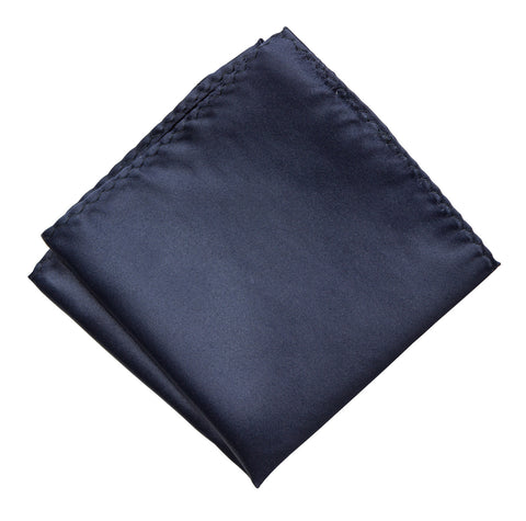 Navy Blue Pocket Square. Dark Blue Solid Color Satin Finish, No Print