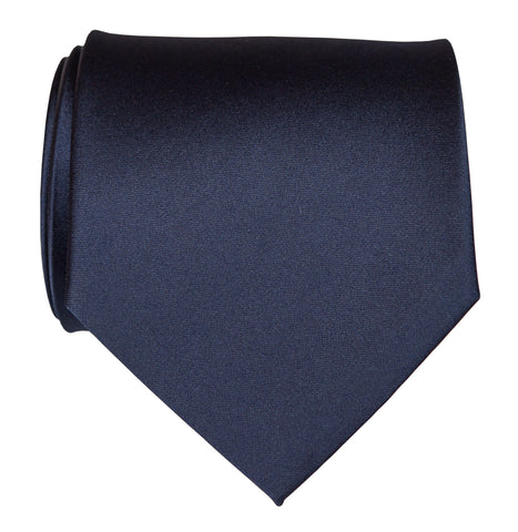 Navy Blue Necktie. Dark Blue Solid Color Satin Finish Tie, No Print