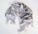 Neuron Scarf. Black pearl print on silver.